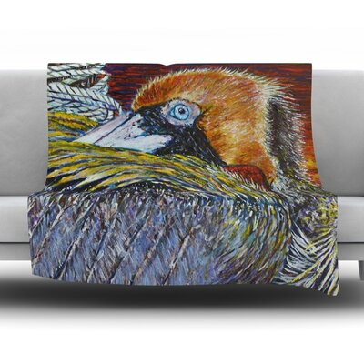 Pelican by David Joyner Fleece Throw Blanket Size: 60 H x 50 W