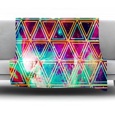 Neon Geo Galaxy by Alveron Fleece Throw Blanket Size: 60 L x 50 W