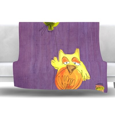 Owl Balloon by Carina Povarchik Fleece Throw Blanket Size: 60 L x 50 W