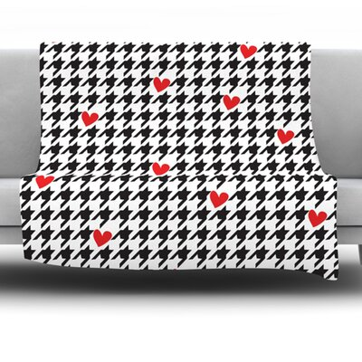 Spacey Houndstooth Heart by Empire Ruhl Fleece Throw Blanket Size: 60 H x 50 W