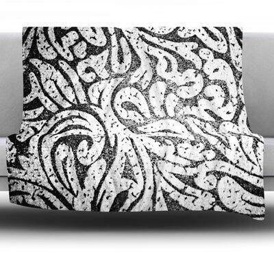 Monochrome Paisley by Alveron Fleece Throw Blanket Size: 80 H x 60 W
