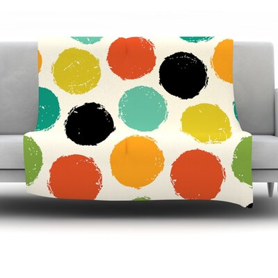 Retro Dots by Daisy Beatrice Fleece Throw Blanket Size: 80 H x 60 W