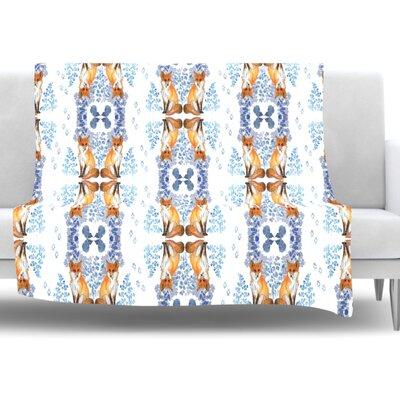Fox in Snow by DLKG Design Fleece Throw Blanket Size: 80 L x 60 W
