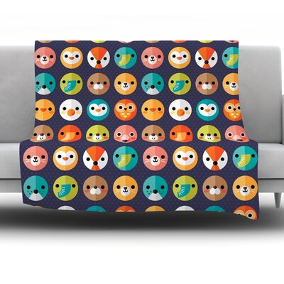 Smiley Faces Repeat by Daisy Beatrice Fleece Throw Blanket Size: 60 H x 50 W