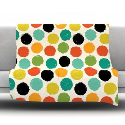 Retro Dots Repeat by Daisy Beatrice Fleece Throw Blanket Size: 80 L x 60 W