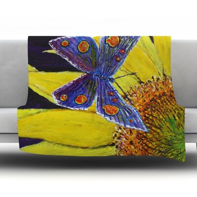 Butterfly by David Joyner Fleece Throw Blanket Size: 40 H x 30 W