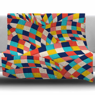 Curved Squares by Danny Ivan Fleece Throw Blanket Size: 40 L x 30 W
