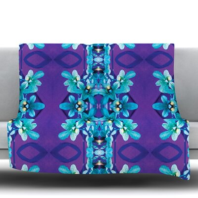 Orchids by Dawid Roc Fleece Throw Blanket Size: 40 L x 30 W
