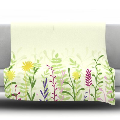 Springtime by Emma Frances Fleece Throw Blanket Size: 60