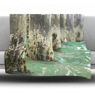 Saltwater Pylons by Debbra Obertanec Fleece Throw Blanket Size: 60 H x 50 W