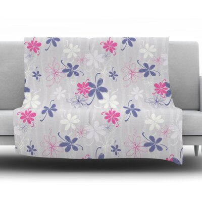 Lively Blossoms by Emma Frances Fleece Throw Blanket Size: 60 H x 50 W