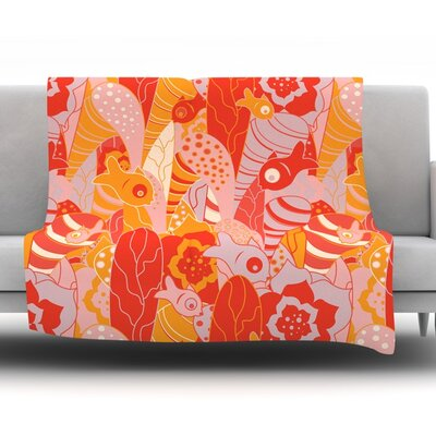 Fishes Here, Fishes There by Akwaflorell Fleece Throw Blanket Size: 80 H x 60 W