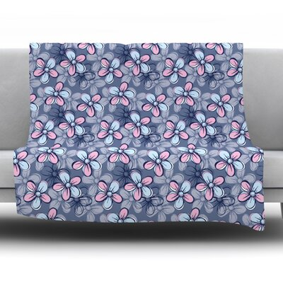 Flower Clusters by Emma Frances Fleece Throw Blanket Size: 80 H x 60 W