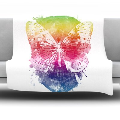 Butterfly Skull by Frederic Levy-Hadida Fleece Throw Blanket Size: 80 L x 60 W