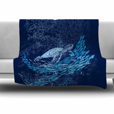 The Turtle Way by Frederic Levy-Hadida Fleece Throw Blanket Size: 80 L x 60 W