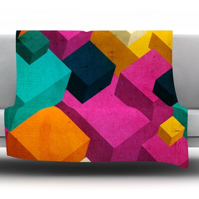 Happy Cubes by Danny Ivan Fleece Throw Blanket Size: 80 H x 60 W