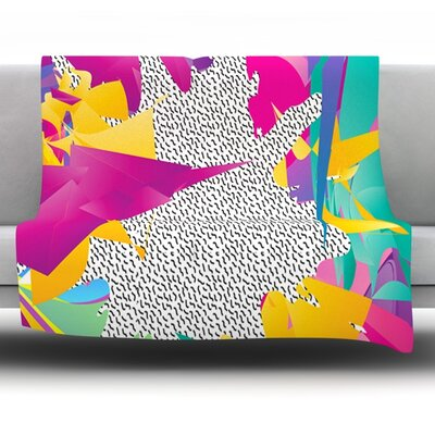 80s Abstract by Danny Ivan Fleece Throw Blanket Size: 40 H x 30 W