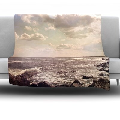Rocky Coast by Debbra Obertanec Fleece Throw Blanket Size: 80 H x 60 W