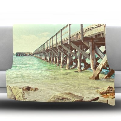On The Pier by Debbra Obertanec Fleece Throw Blanket Size: 80 H x 60 W