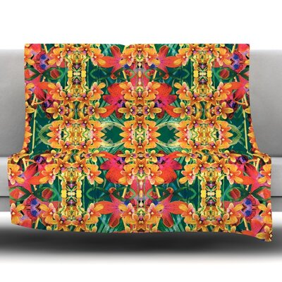 Tropical Floral by Dawid Roc Fleece Throw Blanket Size: 40 L x 30 W