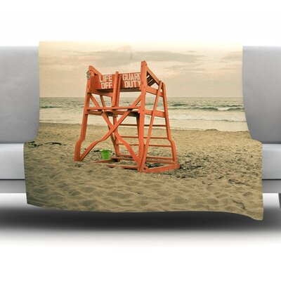 Dusk At the Beach by Debbra Obertanec Fleece Throw Blanket Size: 60 H x 50 W