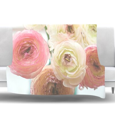 Pastel Ranunculus by Debbra Obertanec Fleece Throw Blanket Size: 90 H x 90 W