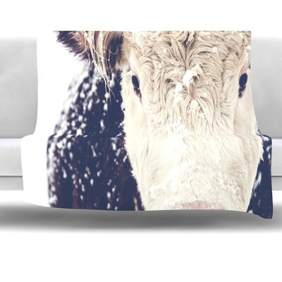 Snowy Cow by Debbra Obertanec Fleece Throw Blanket Size: 40 L x 30 W