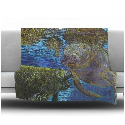 Manatees by David Joyner Fleece Throw Blanket Size: 60 H x 50 W