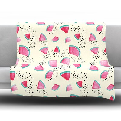 Watermelon by Danii Pollehn Fleece Throw Blanket Size: 60 H x 50 W
