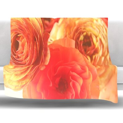Coral Ranunculus by Debbra Obertanec Fleece Throw Blanket Size: 80 H x 60 W