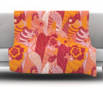 Fishes Here, Fishes There 3 by Akwaflorell Fleece Throw Blanket Size: 80 H x 60 W