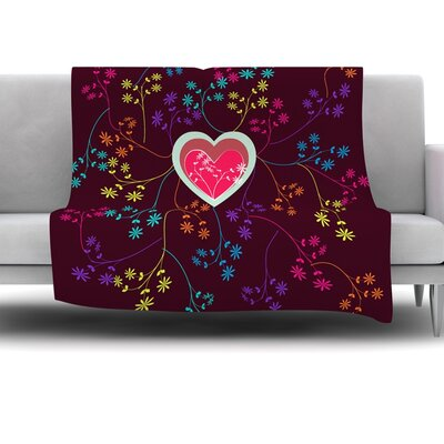 Love Heart by Famenxt Fleece Throw Blanket Size: 80 L x 60 W