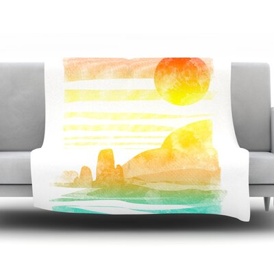 Landscape Painted With Tea by Frederic Levy-Hadida Fleece Throw Blanket Size: 80 L x 60 W