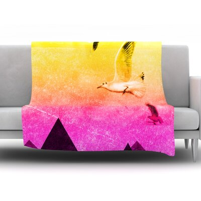 Octopus Flying Manta Rays by Famenxt Fleece Throw Blanket Size: 40 L x 30 W