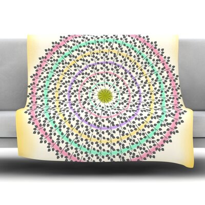 Leafy Watercolor Mandala by Famenxt Fleece Throw Blanket Size: 40 L x 30 W