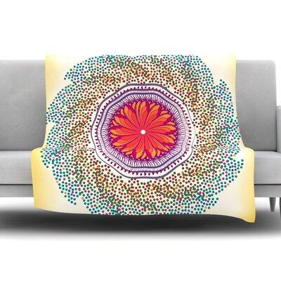 Confetti Dots Mandala by Famenxt 80 Fleece Throw Blanket Size: 40 L x 30 W