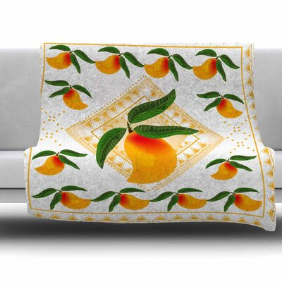 Fresh Farm Mangoes by Famenxt Fleece Throw Blanket Size: 40 L x 30 W