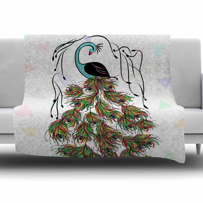 Colorful Peacock by Famenxt Fleece Throw Blanket Size: 80 L x 60 W