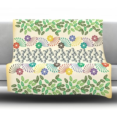 Flowers and Leaves Pattern by Famenxt Fleece Throw Blanket Size: 80 H x 60 W