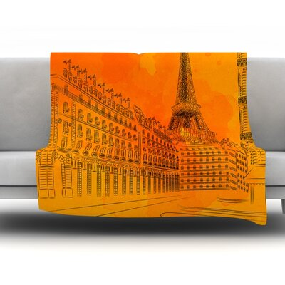 Parisian Sunsets by Fotios Pavlopoulos Fleece Throw Blanket Size: 60 L x 50 W