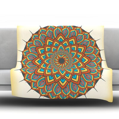 Floral Mandala by Famenxt Fleece Throw Blanket Size: 60 H x 50 W