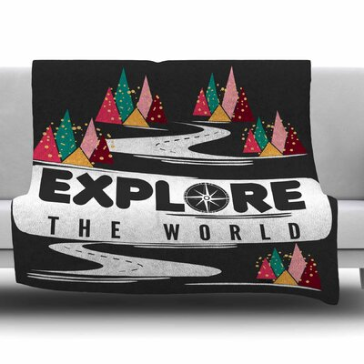 Explore the World by Famenxt Fleece Throw Blanket Size: 40 L x 30 W
