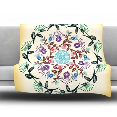 Nature Mandala by Famenxt Fleece Throw Blanket Size: 40 H x 30 W