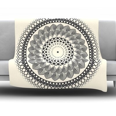 Boho Mandala by Famenxt Fleece Throw Blanket Size: 40 L x 30 W