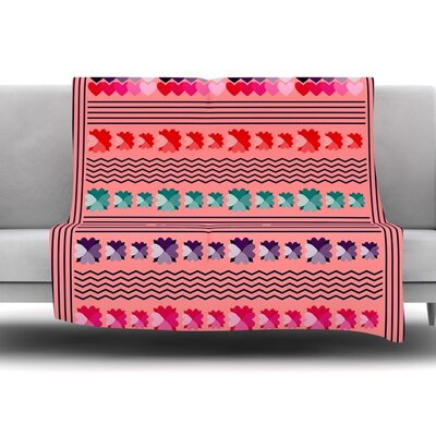 Romantic Love Pattern by Famenxt Fleece Throw Blanket Size: 60 L x 50 W