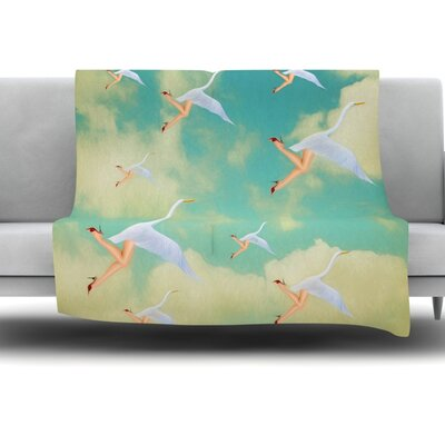 Swan by Natt Fleece Throw Blanket Size: 40 L x 30 W