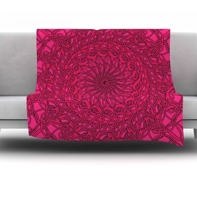 Mandala Spin Berry by Patternmuse 60 Fleece Blanket