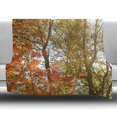 Autumn Trees 1 by Sylvia Coomes Fleece Blanket Size: 80 L x 60 W