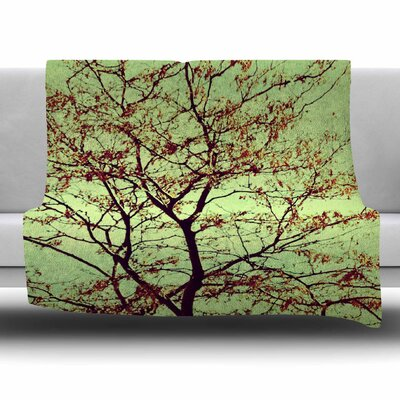 Modern Fall Tree by Sylvia Coomes Fleece Blanket Size: 80 L x 60 W