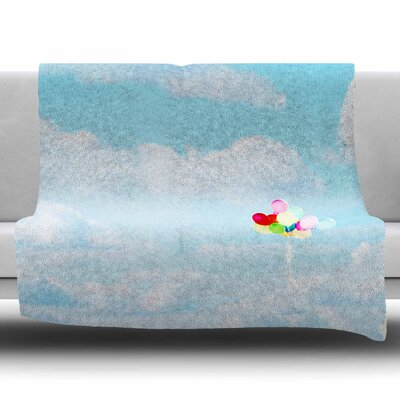 Balloons in the Sky by Sylvia Coomes Fleece Blanket Size: 80 L x 60 W